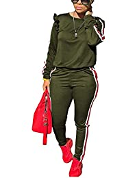 94639b527b34e Women s 2 Piece Outfits Ruffle Sleeve Sweatshirt and Pants Sweatsuits Set  Tracksuits