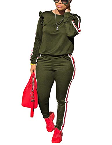 Fashion Casual Ruffle Sleeve Crew Neck Sweatshirt and Long Pants 2 Piece Set Sweatsuits Tracksuits Army Green XL