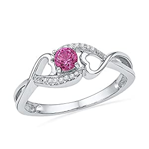 Size - 4 - Solid 10k White Gold Round Pink Simulated Sapphire And White Diamond Engagement Ring OR Fashion Band Prong Set Solitaire Shaped Heart Ring (.06 cttw)