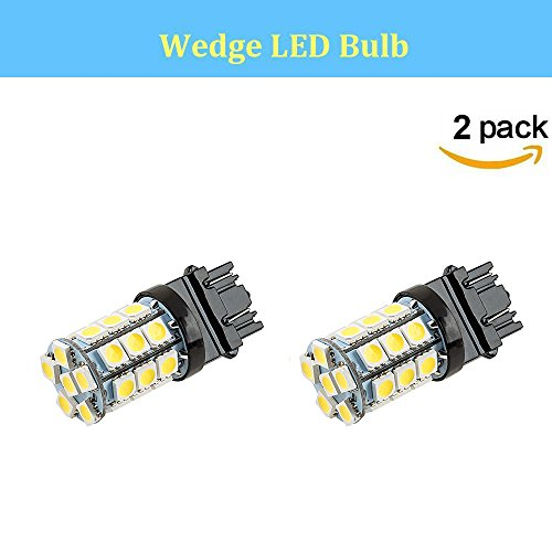 Makergroup 3157 T25 LED Light Bulbs Wedge Base Dual-Function Bulbs Amber Color 4W 12VDC for Automotive Tail Lights, Brake Lights,Reverse Lights,Turn Signal Lights Side, Maker Lights 2-Pack (Amber Wedge Base)