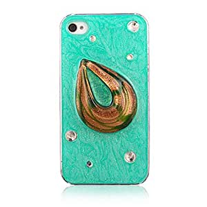 LCJ Fashion Special Design Pattern with Diamond Transparent Frame Back Case for iPhone 4/4S , Blue
