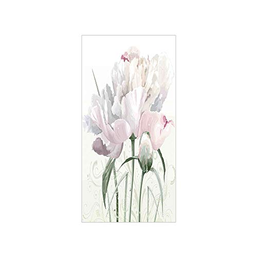 Decorative Privacy Window Film/Floral Pink Roses Tulips Abstract Leaves with Petals and Buds Detailed Print Image/No-Glue Self Static Cling for Home Bedroom Bathroom Kitchen Office Decor White