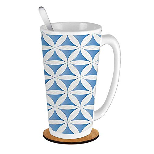 - Abstract Flower of Life Traditional Alchemy Disc Cosmos Meditation Ethnic Pattern,Light Blue White Ceramic Cup with Spoon & Round wooden coaster Creative Morning Mug Milk Coffee Tea Cup Mug 16oz