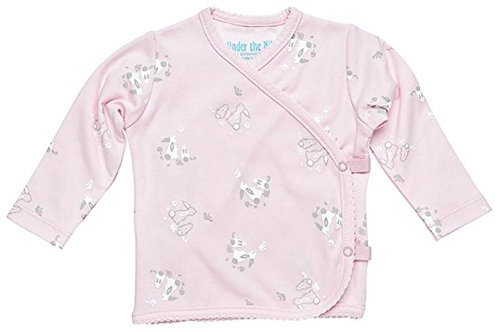 Girl Long Sleeve Side Snap T-Shirt Size 0-3M Pink Bunny Print Organic Cotton ()