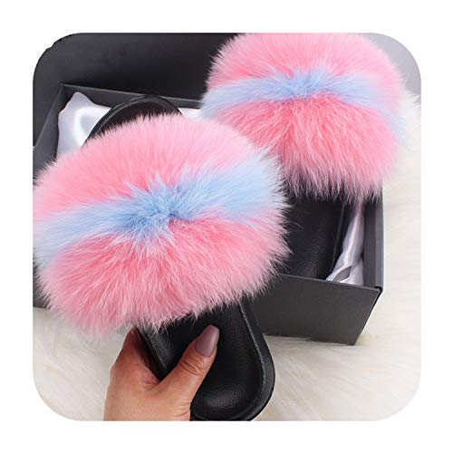Summerdress Fluffy Slippers Real Fox Fur Slides Indoor Flip Flops Casual Shoes Woman Raccoon Fur Sandals Vogue Plush Shoes,Pink Blue,7.5