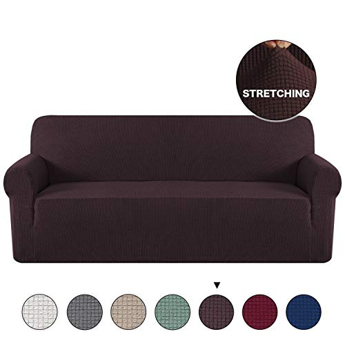(Turquoize Stylish Furniture Cover/Protector 1-Piece Stretch Sofa Slipcover for 4 Seater Cushion Couch Loveseat Sofa Cover Extra Large No Slipping Living Room Furniture Covers (Oversize Sofa, Brown))