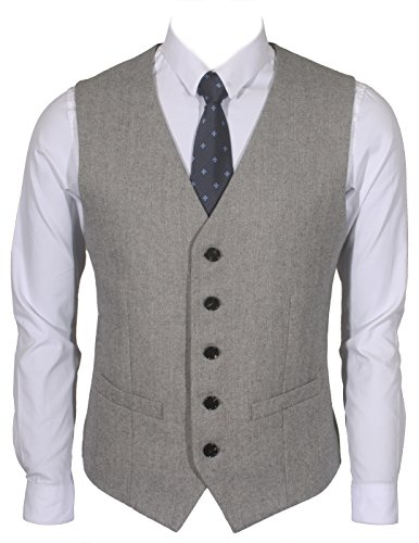 Ruth&Boaz 2Pockets 5Buttons Wool Herringbone Tweed Business Suit Vest (XL, Herringbone Grey)