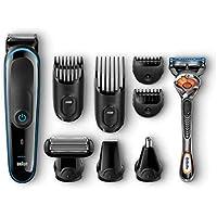 Braun Tondeuse tout-en-un 9-en-1 MGK3085, Tondeuse barbe et cheveux, Tondeuse spéciale corps, Tondeuse oreilles et nez, Tondeuse de précision, Noir/Bleu, Lames puissantes et inusables