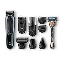 Braun MGK3085 9-In-1 Tutto-in-1 Rifinitore, Rasoio Barba Elettrico, Tagliacapelli, Rifinitore di Precisione per Corpo, Naso e Orecchie, Gillette Fusion5 Proglide con Tecnologia FlexBall, Nero/Blu