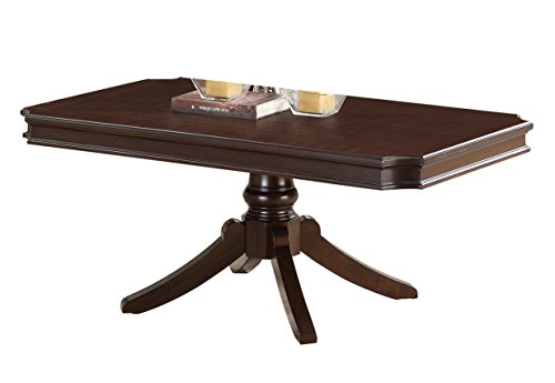 Homelegance Marston Contemporary Rectangular Cocktail Table with Pedestal Base, Dark Cherry
