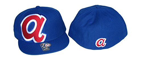 Atlanta Braves Fitted Size 7 1/2 Oversized Side Logo Royal Blue Hat Cap - Cooperstown Collection