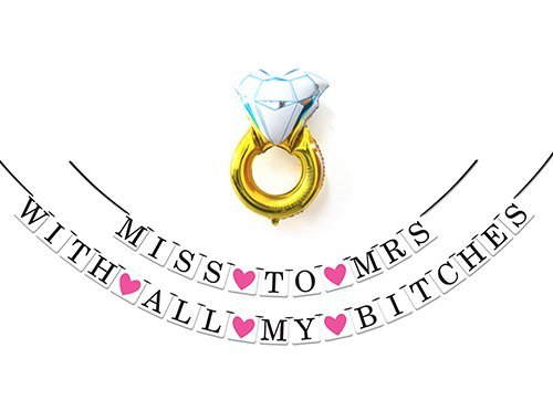 2-in-1 Miss To Mrs Classy & Sassy Bachelorette Party Pack - Bachelorette Party Decorations, Favors and - Picture Plate Diamond Frame