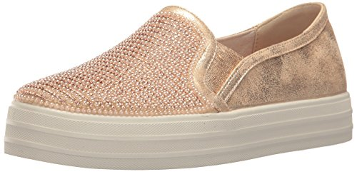 Skechers Women's Double up-Shiny Dancer Fashion Sneaker, Rose Gold, 7 M US