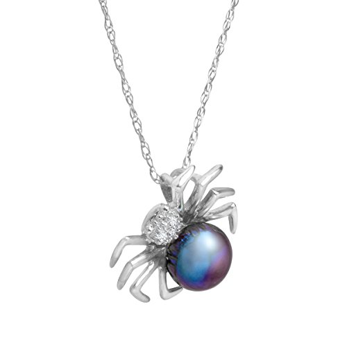 6 mm Freshwater Black Cultured Pearl Spider Pendant Necklace with Diamonds in 14K White Gold