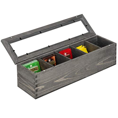 MyGift Rustic Gray Wood 5-Compartment Tea Bag Box with Clear Lid ()