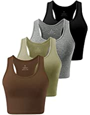 Cosy Pyro 4 Pack Cotton Crop Racerback Tank Tops for Women Basic Workout Crop Tanks Sleeveless Cropped Sport Shirts