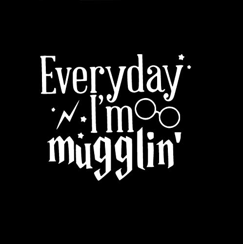 CCI Everyday I'm Mugglin Harry Potter Decal Vinyl Sticker|Cars Trucks Vans Walls Laptop| White |5.5 x 4.75 in|CCI556 ()