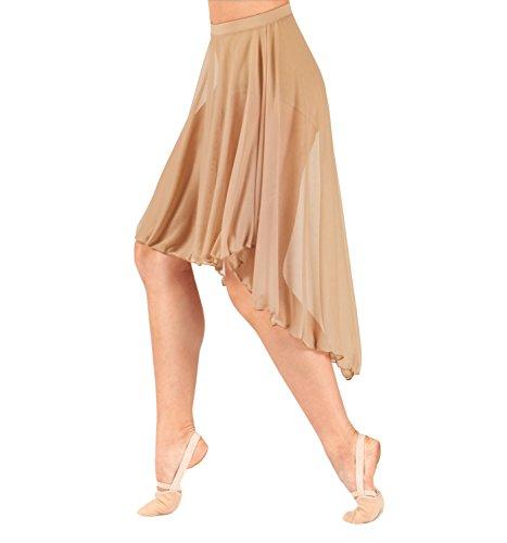 Body Wrappers Adult Mid Length High-Low Mesh Dance Skirt,BW9101LPKXSS,Light Pink,XSS