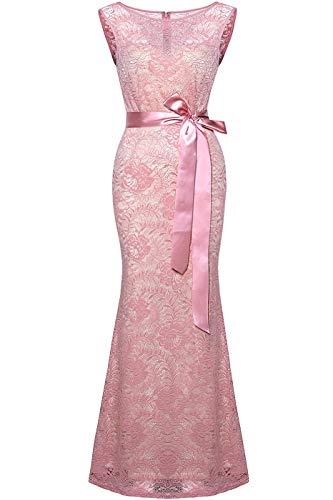 (Absolute Rosy Women's Sleeveless Lace Ribbon Waist Belt Evening Dress Mauve L(EDL-1707))