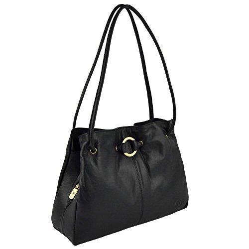 Ladies Black LEATHER HANDBAG Soft GIGI Shoulder Stylish Collection Classic OTHELLO PZnqSSB
