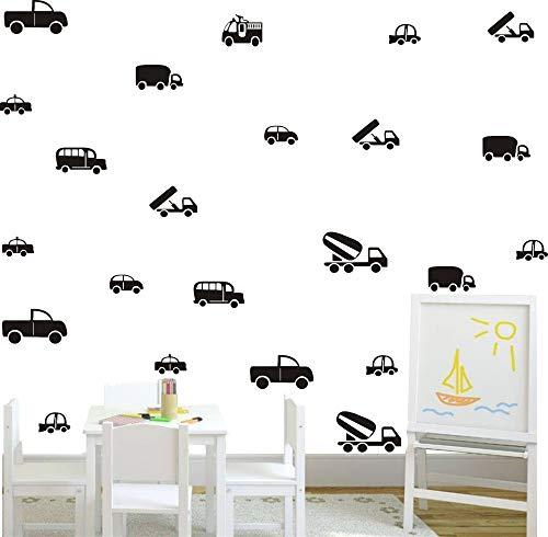 36pcs/Set Kinds of Cars Trucks Pattern Wall Decor Sticker Art Vinyl Wall  Decal for Boys Room Kids Nursery Playroom Bedroom Wall Decals (Black)