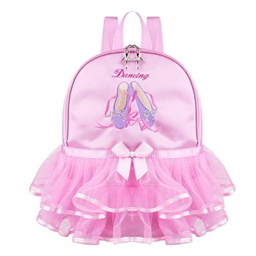 CHICTRY Kids Girls Ballet Dance Bag Cute Toe Shoes Embroidered Mesh Tiered Ruffled Tutu Shoulder Bag Students Backpack Pink One Size