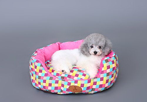 Anti-slip Bottom Colorful Cotton Canvas Plush Cat Dog Small Animal Pet Sofa Bed (Small) For Sale