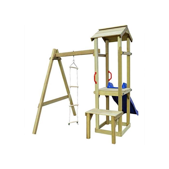 41mG786jh L Su robusta estructura es de madera de pino impregnado con certificación FSC. Este parque infantil de madera maciza es muy robusto, resistente a la intemperie y duradero. La escalera de cuerda está unida a la estructura mediante ganchos metálicos resistentes al desgaste.