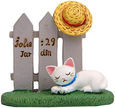 Garneck Miniatura Figura De Gato con Sombrero Durmiendo Valla Gatos Muñecas Jardin Paisaje De Hadas Decoración para Casa De Muñecas Maceta: Amazon.es: Hogar
