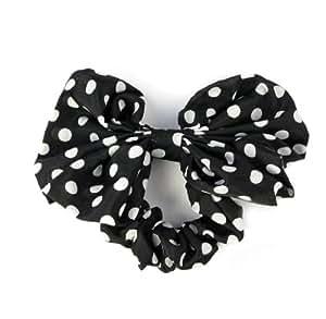 Towallmark 1PC Korean Style Lovely Big Rabbit Ear Bow Headband Ponytail Holder Hair Tie Band (black)