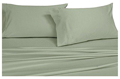 Royal Hotel's Solid Sage 550-Thread-Count 4pc King WATERBED SHEETS, 100-Percent Combed Cotton, Sateen Solid, Deep ()
