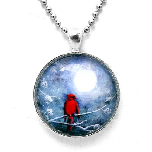 Laura Milnor Iverson Cardinal on a Wintry Night Handmade Jewelry Art Pendant (Unisex Ball Chain)
