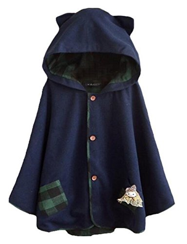 Luckyauction Women's Cute Button Down Tweed Cat Ears Hooded Cape Navy OS