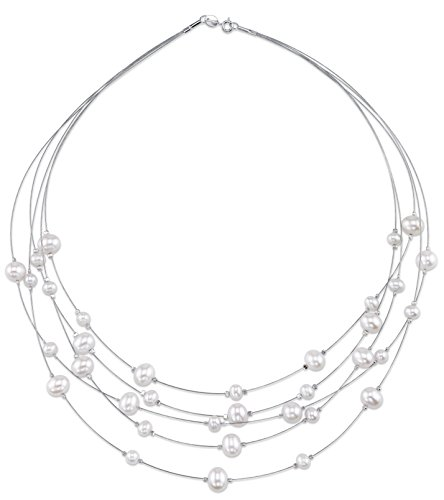 White Freshwater Cultured Pearl Wire Necklace Pearl Wire Necklace