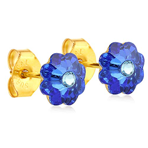 (24K Gold Coated Stud Earrings hypoallergenic by clecceli (Blue))