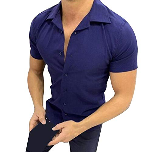 Stoota Men's Summer Pure Color Button Down Pattern