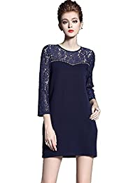 ROOSEE Women's 3/4 Sleeves Hollow Lace A-Line Dress