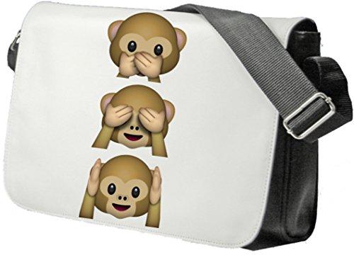 """Schultertasche """"Nichts-Böses-Sehen-Sagen-Hören Affen"""" Drei Affen 3 Monkey aus Keramik, Smiley, Emoji, Deko, Kult, Kaffeetasse, Teetasse, IPhone, Emoticons."""