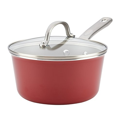 (Ayesha Curry Home Collection Porcelain Enamel Nonstick Covered Saucepan, 3-Quart, Sienna Red)