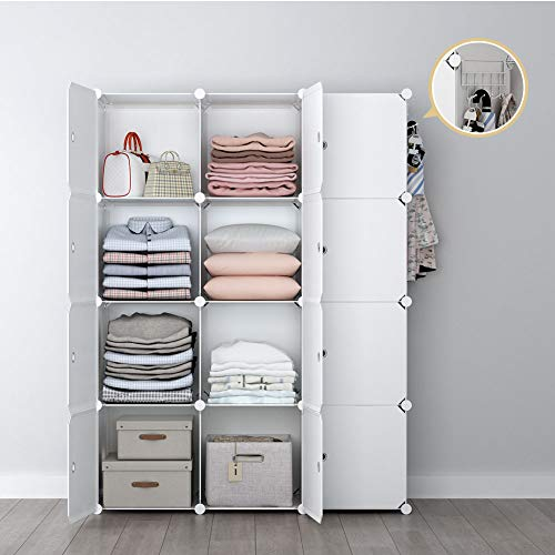 YOZO Modular Wardrobe Portable Clothes Closet Dresser Garment Rack Polyresin Storage Organizer Bedroom Armoire Cubby Shelving Unit Dresser Multifunction Cabinet DIY Furniture, White, 12 Cubes