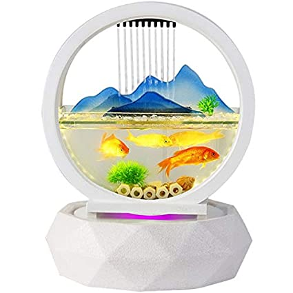 PIG Peceras de cristal Tipo de hoja de loto redondo Adornos de agua de tanque de peces ...