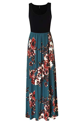 Zattcas Womens Summer Contrast Sleeveless Tank Top Floral Print Maxi Dress,Black Teal,X-Large