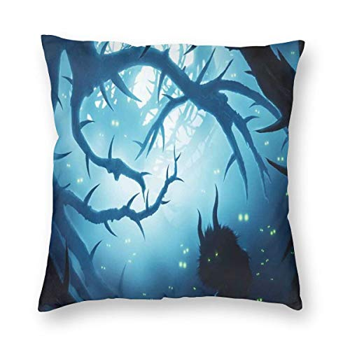 K0k2to Mystic Throw Pillow Cushion Cover,Animal with Burning Eyes in The Dark Forest at Night Horror Halloween Illustration,Decorative Square Accent Pillow Case]()