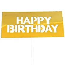 Flairs New York Happy Birthday Decorations Banner Cake Toppers Party Props (Pack of 1 Cake Topper, Acrylic Gold Plate Happy Birthday)