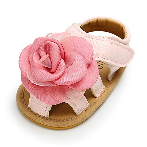 (RVROVIC Baby Girl Sandals - Soft Sole Infant Girl Summer Crib Shoes Princess Dress Flats (12-18 Months M US Infant, 6-Pink))