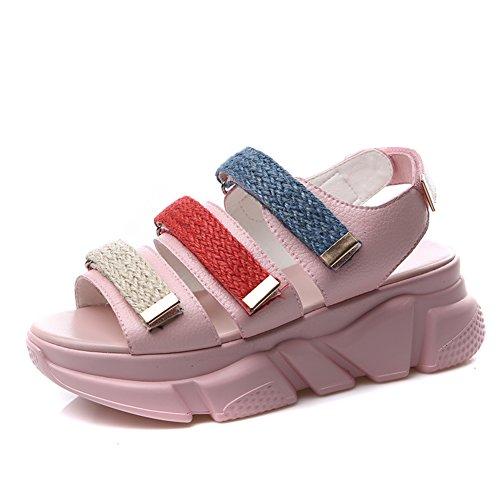 Los estudiantes de verano sueltan los zapatos de pastel/Sandalias romanas de boca de pescado grueso B