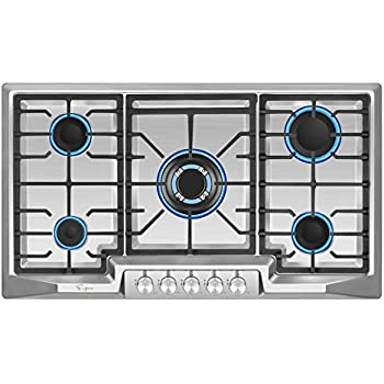 Thermocouple Protection CSA Safety Certified Gas Cooktop Gasland chef GH77SF 30 Built-in Gas Cooktop Easy To Clean Stainless Steel LPG Natural Gas Stove Top with 5 Italy Sabaf Burners