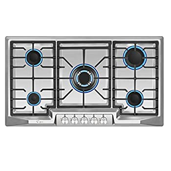 Image of Empava 36' Stainless Steel 5 Italy Sabaf Burners Stove Top Gas Cooktop EMPV-36GC881 Home Improvements