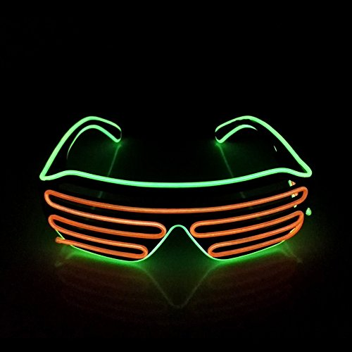 EL Wire Light Up Glasses NHsunray LED Sound Activated Glowing Eye glasses for Halloween Bar Glowing Party Masquerade Nightclub Concerts Clubbing - Sunray Sunglasses