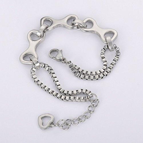HOUSWEETY Bracelet Maille Venitienne Multi-Couche Connecteurs Creux en Acier Inoxydable Cadeau pour Femme Fille